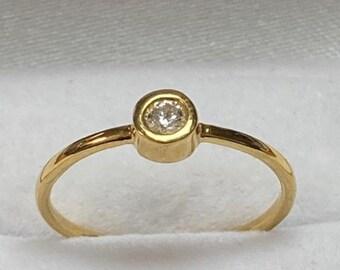 Diamond Solitaire Ring, 14K Gold Diamond Rings, Stacking Ring ,Promise Ring ,Engagement Rings, Minimalist Diamond Ring, Rings for Women,Gift