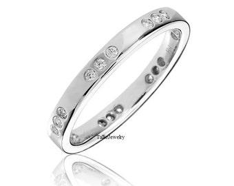 Platinum Diamond Ring /  Platinum Diamond Wedding Band /  2mm Thin Diamond Eternity Ring / Platinum Band