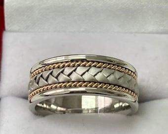 Two Tone Mens Wedding Band,  Rope Braided Mens Wedding Ring, 8mm 10K 14K 18K White & Yellow Gold Wedding Bands, Two Tone Gold Wedding Bands