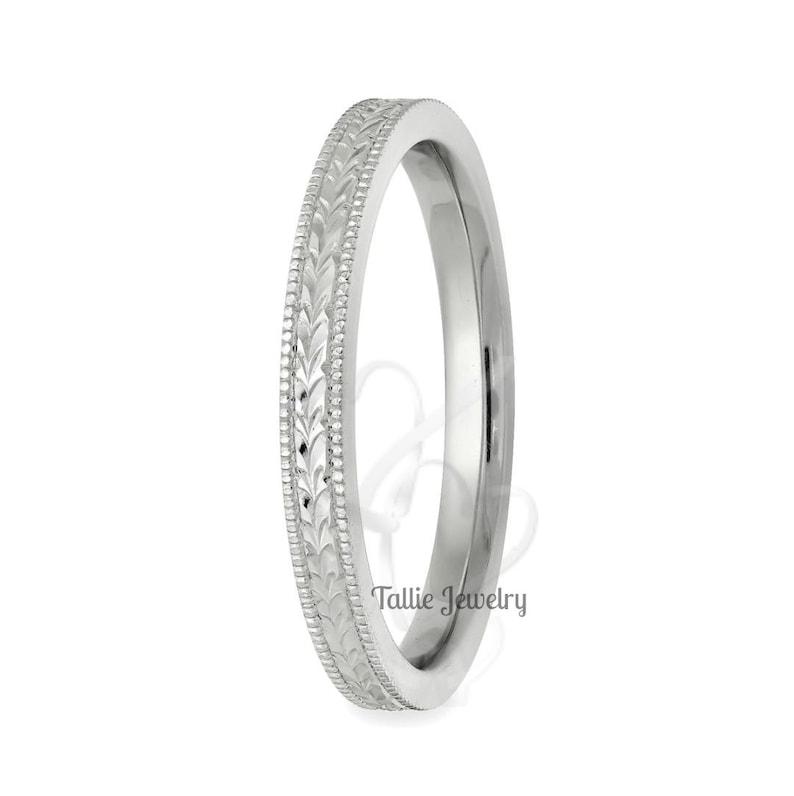 Hand Engraved Wedding Band 10K 14K 18K Solid White Gold Mens Womens Wedding Bands Hand Engraved Wedding Ring Thin Wedding Ring
