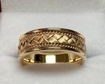 Mens Yellow Gold Wedding Band ,Handmade Braided Mens Wedding Ring ,7mm 10K 14K 18K Yellow Solid Gold Wedding Band