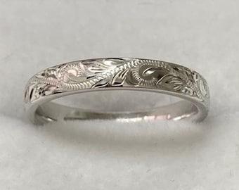 Hand Engraved  Wedding Bands, Hand Engraved Weeding Rings, 3mm 10K 14K 18K White Gold Wedding Rings, Hand Engraved Mens Womens Wedding Bands