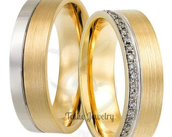 Two Tone Gold His & Hers Wedding Bands, Diamond Matching Wedding Rings Set, 10K 14K 18K Solid White and Yellow Gold Diamond Wedding Bands
