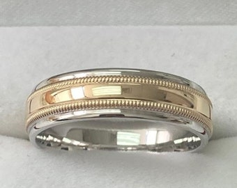 Two Tone Mens Wedding Rings, Mens Wedding Bands , 6mm,10K 14K 18K Solid White and Yellow Gold Wedding Rings, Two Tone Gold Wedding Bands