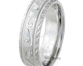 Hand Engraved Mens Wedding Bands,7mm 10K 14K 18K White Gold Mens Wedding Rings, Hand Engraved Wedding Bands, His & Hers Wedding Rings