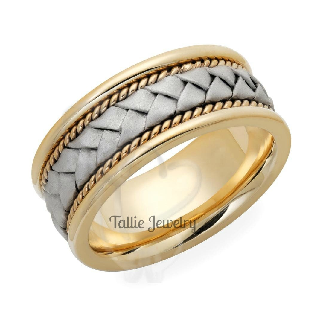 8mm Satin Braided Comfort Fit Wedding Band