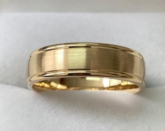 Mens Yellow Gold Wedding Bands, Satin Finish  Mens Wedding Rings, 6mm 10K 14K 18K Yellow Gold Mens Wedding Bands, Rings for Men