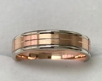 Two Tone Gold Wedding Bands, 4mm 14K Solid White & Rose Gold Mens and Womens Wedding Rings, Rings for Men , Rings for Women, Two Tone Rings