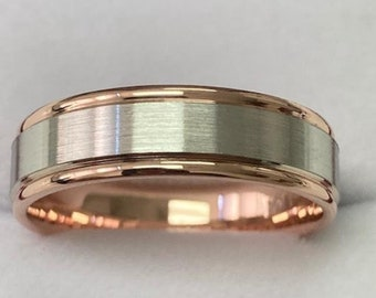 14K Two Tone Gold Mens Wedding Bands, Two Tone Mens Wedding Rings, 6mm White and Rose Gold Wedding Bands, Rings for Men