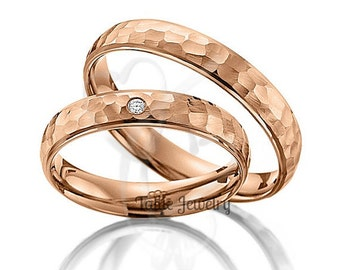 Hammered Finish His & Hers Diamond Wedding Rings, Matching Wedding Bands Set , Diamond Wedding Rings, 14K  Solid Rose Gold Wedding Bands