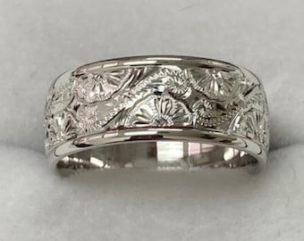 Mens White Gold Hand Engraved Wedding Band,  Hand Engraved Mens Wedding Ring ,8mm 10K 14K 18K White Gold Wedding Bands, Hand Engraved Rings