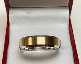 Two Tone Gold Wedding Bands, 6mm 10K 14K 18K Solid White and Yellow Gold Mens Wedding Rings,Matching Wedding Bands, His & Hers Wedding Rings