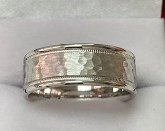 Hammered Finish Platinum Mens Wedding Bands,  Platinum Mens Wedding Rings 8mm