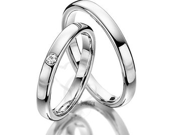 His & Hers Wedding Bands, Matching Wedding Rings Set , 10K 14K 18K Solid White Gold Wedding Bands, His and Hers Wedding Rings