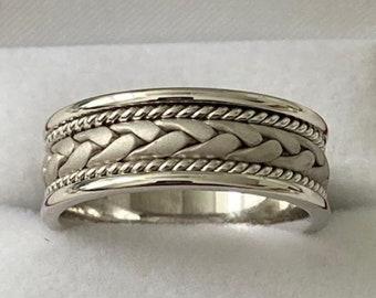 Handmade Mens Wedding Band,  Rope Braided Mens Wedding Rings,  8mm 10K 14K 18K Solid White Gold Wedding Bands, Rings for Men
