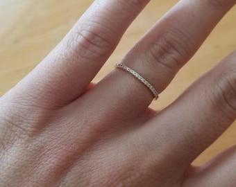 Platinum Diamond Ring / Eternity Platinum Diamond Wedding Ring  / 1.3mm Micro Pave Thin Diamond Eternity Ring / Eternity Wedding Band