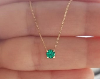 Emerald Necklace, 14K Gold Solitaire Necklace, 4mm 0.30 Carat Emerald Necklace, May Birthstone, Layering Necklace,Green Emerald,Gift for Her