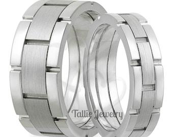Platinum Matching Wedding Rings Set  , His and Hers Platinum Wedding Bands,  Mens & Womens Platinum Wedding Rings