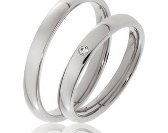 His & Hers Wedding Rings, Matching Wedding Bands, 10K 14K 18K Solid White Gold Mens Womens Wedding Rings , His and Hers Wedding Bands