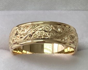 14K Solid Yellow Gold Hand Engraved Wedding Bands, Hand Engraved Mens Wedding Rings, 7mm 10K 14K 18K Solid Gold Mens Wedding Bands