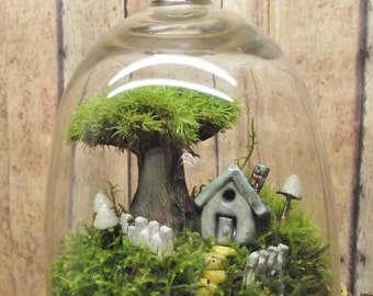 Home Sweet Home Decor Live Moss Terrarium Miniature plant with raku fired ceramic clay miniature house tree of life Handmade by Gypsy Raku