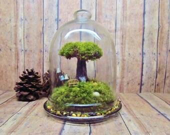 Tree of Life - Live Moss - Tree Terrarium - Fairy Garden - Raku Fired Clay Tree - Dome - Jar - Glow in the Dark Mushrooms - Live - Handmade