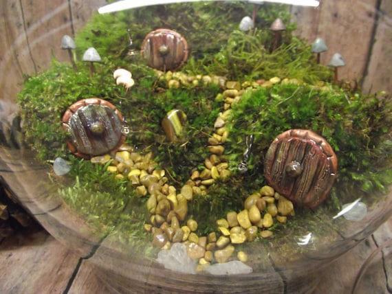 Hobbit Habitat Terrarium-live moss terrarium-miniature hobbit doors- Fairy Garden shire terrarium-Handmade by Gypsy Raku from GypsyRaku on Etsy Studio & Hobbit Habitat Terrarium-live moss terrarium-miniature hobbit doors ...