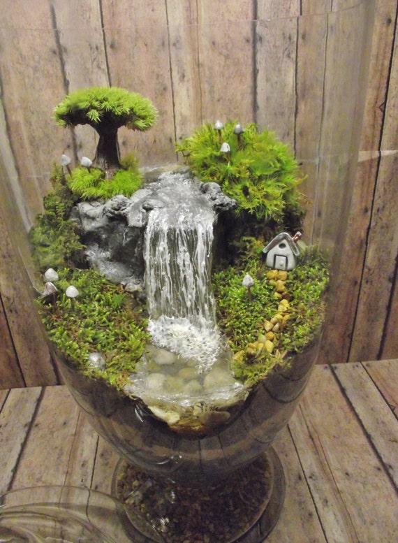 Amazing Huge Waterfall Terrarium With Raku Fired Miniature Etsy