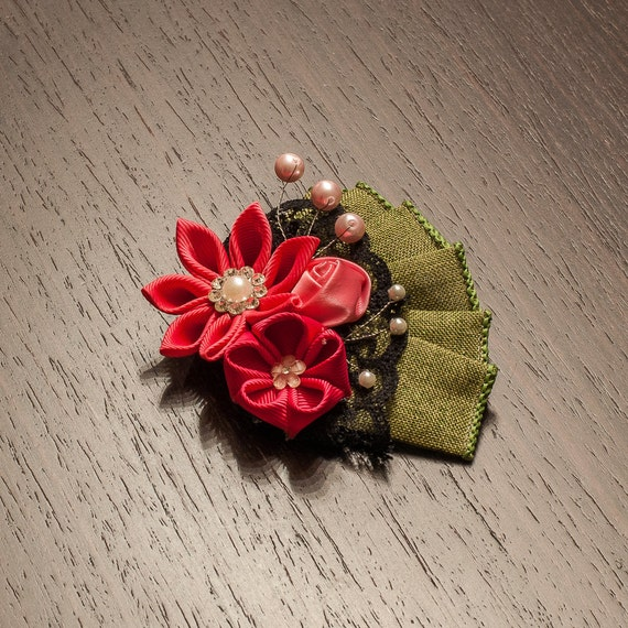 Stylish Beautiful Black Flower Lapel Pin: Women's Pink Green And Black Kanzashi Lapel Flower Pin