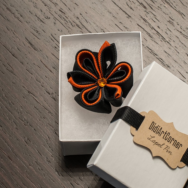 Orange Colorful Kanzashi Flower Lapel Pin with Black Crystal