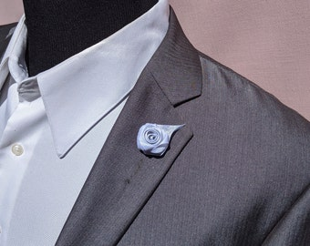 White and Silver Rose Lapel Pin / Baptism Rose Lapel Pin / Wedding Lapel Pin Flower / Men's Lapel Pin