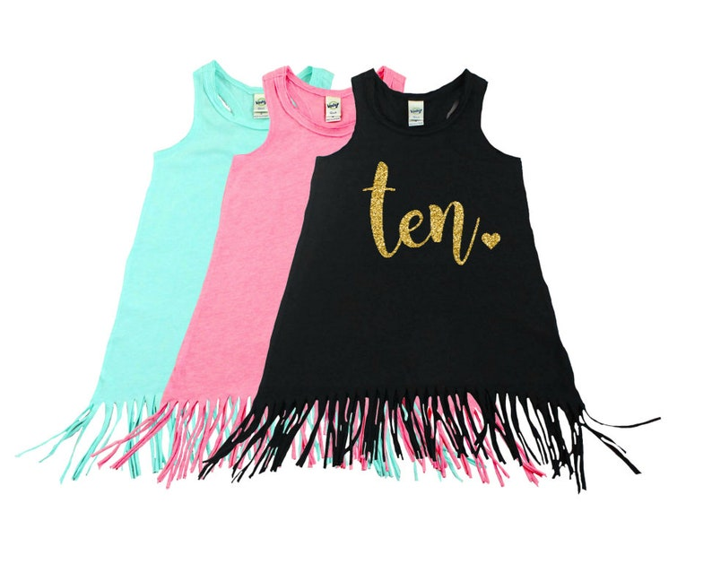 Ten Year Old  Fringe Dress  Fringe Tank  10th Birthday  image 0