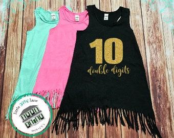 Ten Year Old   Fringe Dress   Fringe Tank   10th Birthday   Youth   Birthday Dress   Girl Fringe   Glitter   Tenth Birthday   Double Digits