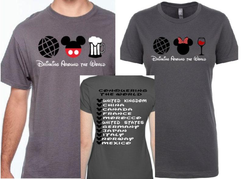 92d343ef Disney Drinking Around the World Couples Shirts Disney | Etsy