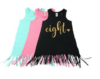 Eight Year Old | Fringe Dress | Fringe Tank | 8th Birthday | Youth | Birthday Dress | Girl Fringe | Glitter | Eighth Birthday | Summer Dress