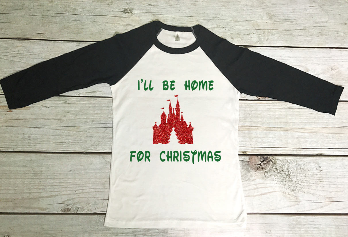 I\'ll Be Home for Christmas Disney Castle Shirt Christmas | Etsy