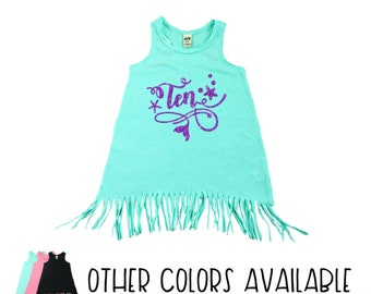 Mermaid Party Outfit | Ten Year Old | Fringe Dress | Fringe Tank | 10th Birthday | Birthday Dress | Tenth Birthday | Double Digits