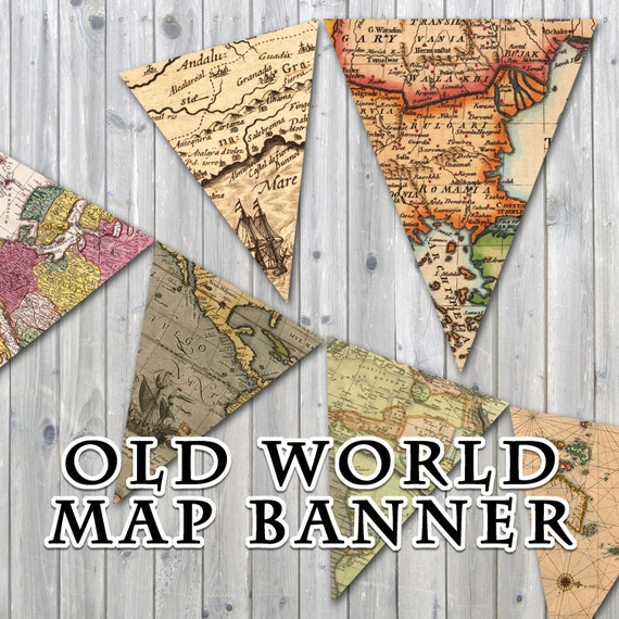 262f18a197a5 Old World Map Printable Banner Includes 3 Sizes Instant