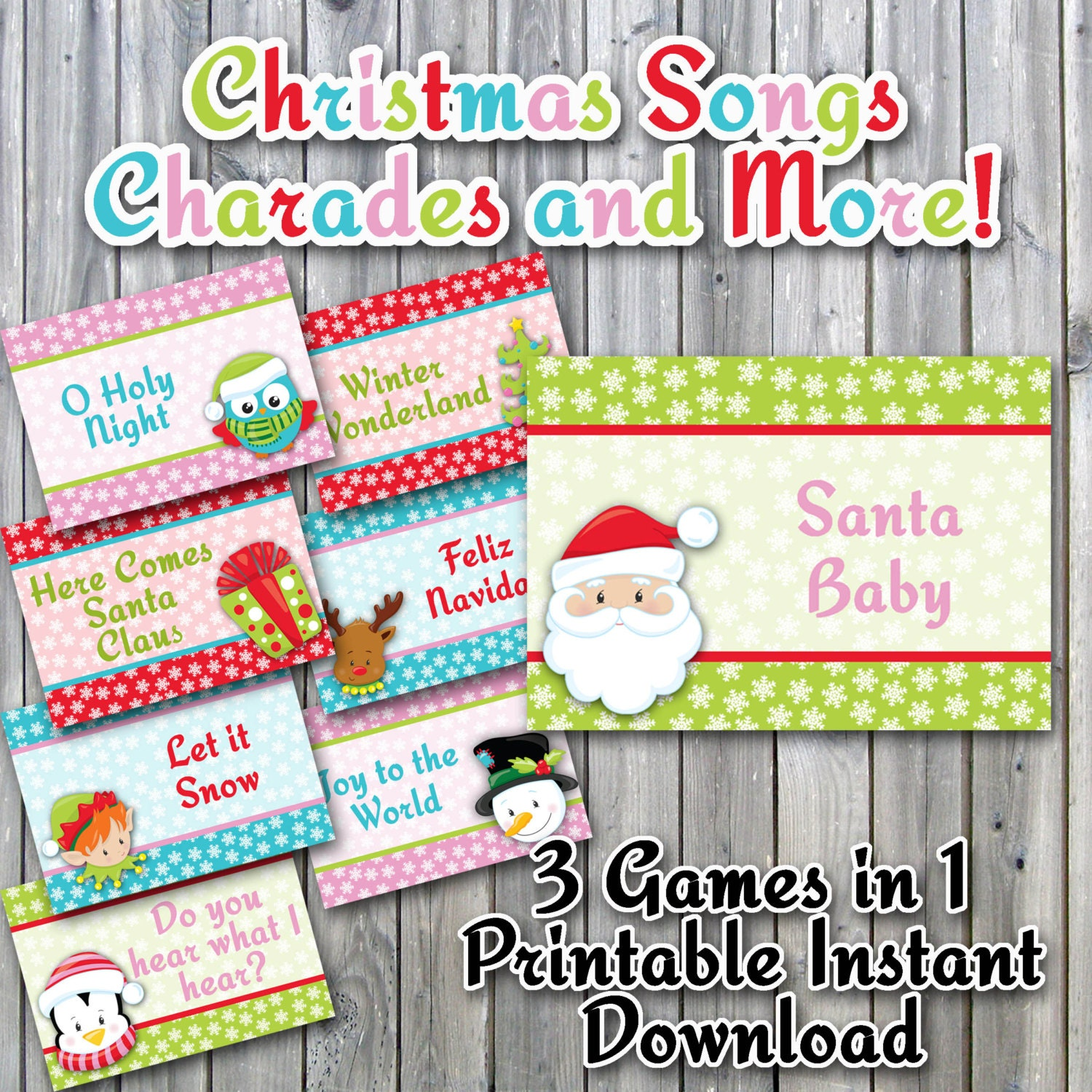 christmas charades printable pdf christmas song version | etsy