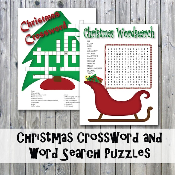 Christmas Crossword Puzzle.Christmas Crossword Puzzle And Word Search Party Game Printables Instant Download