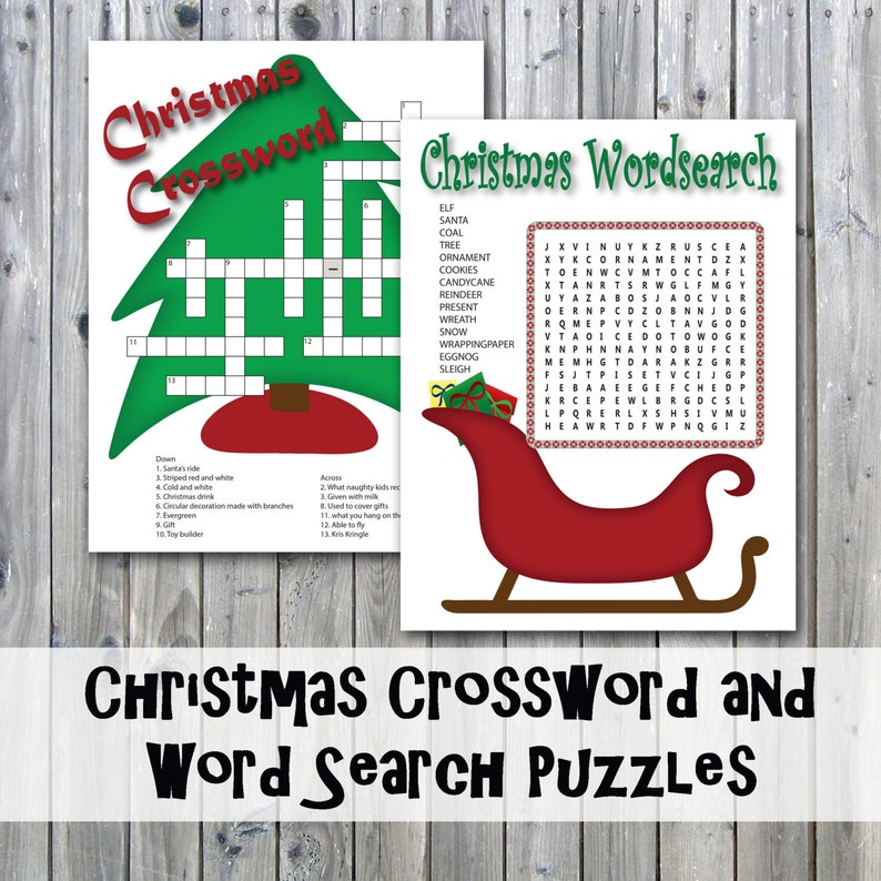 picture regarding Christmas Crossword Puzzle Printable identified as Xmas Crossword Puzzle and Phrase Appear - Celebration Match Printables - Immediate Obtain
