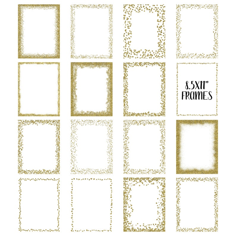 378bedb37591 Gold Glitter Frames and Borders PNG Overlay Clipart Bundle
