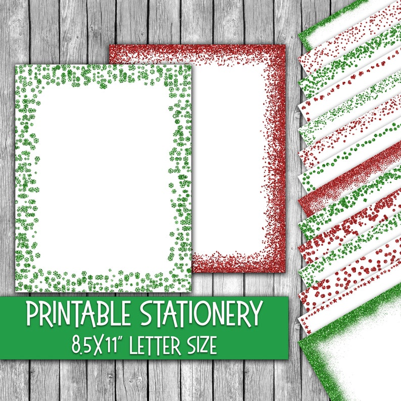 photograph about Printable Christmas Letter Paper identified as Printable Xmas Stationery - Inexperienced and Purple Glitter Xmas Letter Paper - Letterheads - 16 Models - 8.5inside x 11within just - Industrial Employ the service of