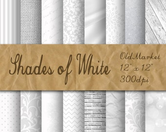 Shades of White Digital Paper - Wedding Backgrounds - White Wedding Textures - 16 Designs - 12in x 12in - Commercial Use - INSTANT DOWNLOAD