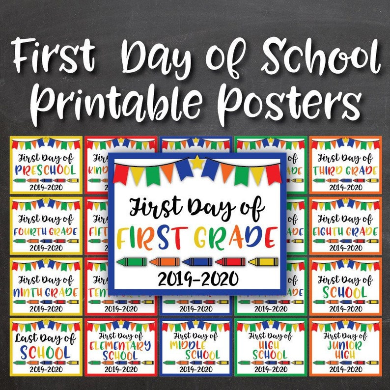 image relating to Welcome Back Signs Printable named Initially Working day of College or university Printable Indications - Back again Toward University Printable Posters - Preschool for the duration of 12th Quality - Consists of 20 Electronic Picture Props
