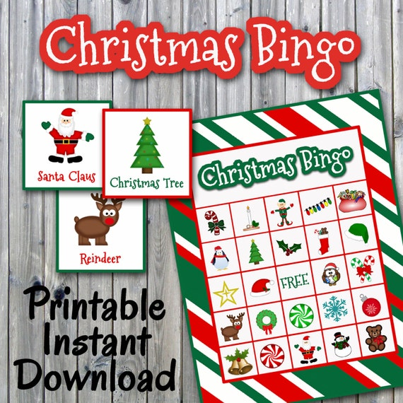 Christmas Bingo Printable PDF 30 Different Cards HALF PAGE