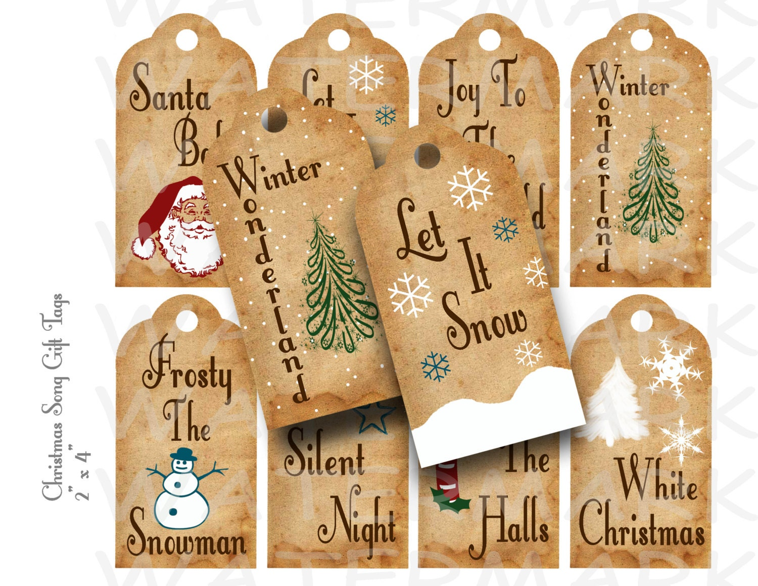 Christmas Song Gift Tags Printable INSTANT DOWNLOAD | Etsy