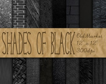 Shades of Black Digital Paper - Black Backgrounds - Black Textures - 16 Designs - 12in x 12in - Commercial Use - INSTANT DOWNLOAD