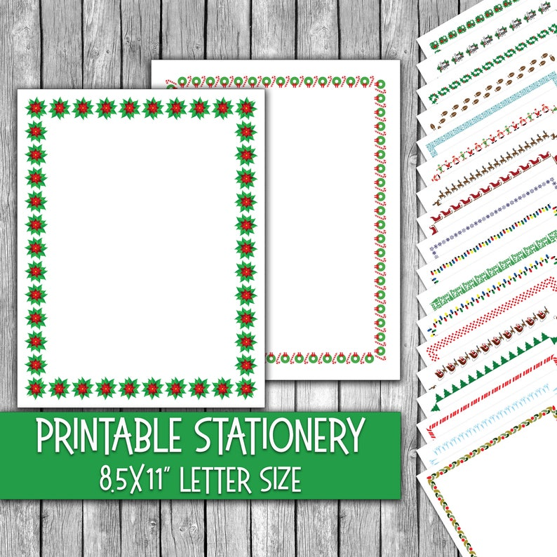graphic about Printable Christmas Letter Paper referred to as Printable Xmas Stationery - Xmas Letter Paper - Xmas Letterheads - 16 Patterns - 8.5inside of x 11within just - Industrial Hire