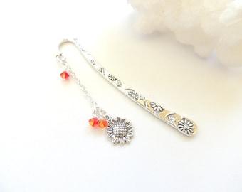Sunflower Bookmark, Flower Bookmark, Metal Bookmark, Flower Bookmark, Handmade Bookmark, Page Saver, Stocking Stuffer, Gift Idea. A261